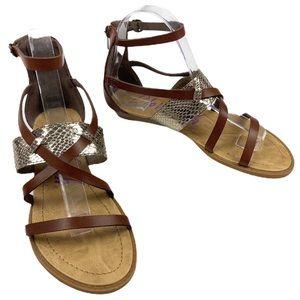 BLOWFISH MALIBU Brown Silver Gladiator Sandal sz 7